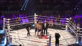 worstelen : Orenburg, Russia - June 15, 2018 year: The fighters compete in mixed martial arts (M-1 Challenge 94) at the tournament The battle in the heart of the continent Stockvideo