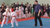 artes marciales : Orenburg, Russia-April 7, 2019 year: boys compete in town Tournament Day Samurai