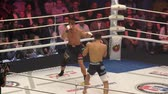 antreman : Orenburg, Russia - June 15, 2018 year: The fighters compete in mixed martial arts (M-1 Challenge 94) at the tournament The battle in the heart of the continent Stok Video