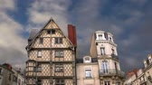 adam : Front of the House of Adam, old half-timbered house in the city of Angers, France Stok Video