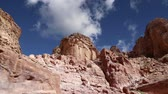 nabataean : Mountains of Petra, Jordan, Middle East. Petra has been a UNESCO World Heritage Site since 1985 Stock Footage