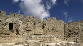 defensiva : Medieval city walls in Rhodes town, Greece time lapse Stock Footage