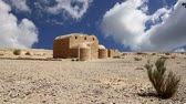 fresk : Quseir (Qasr) Amra desert castle near Amman, Jordan. World heritage with famous frescos. Stok Video
