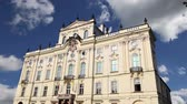 başpiskopos : Archbishop Palace, famous building at the main entrance in The Prague Castle, Czech Republic. Prague is one of the most visited capital in Europe Stok Video