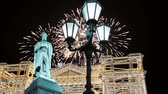 night time : Fireworks over the Monument to Pushkin, Moscow city center. Russia (with zoom)