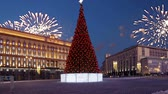 architectural : Fireworks over the Lubyanskaya (Lubyanka) Square in the evening, Moscow, Russia (with zoom) Stock Footage