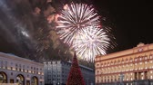 yerleri : Fireworks over the Lubyanskaya (Lubyanka) Square in the evening, Moscow, Russia (with zoom) Stok Video