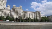 пешеходный мост : Kotelnicheskaya Embankment Building, Moscow, Russia - is one of the seven stalinist skyscrapers laid down in September, 1947 and completed in 1952. Shooting from a tourist pleasure boat