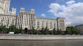 рельсы : Kotelnicheskaya Embankment Building, Moscow, Russia - is one of the seven stalinist skyscrapers laid down in September, 1947 and completed in 1952. Shooting from a tourist pleasure boat