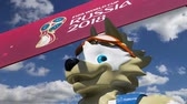 excelente : Official symbols of the 2018 FIFA World Cup in Russia (against the sky with clouds) Stock Footage