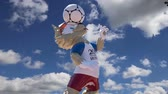 simbólico : Official symbols of the 2018 FIFA World Cup in Russia (against the sky with clouds) Stock Footage