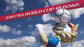 bem vindo : Official symbols of the 2018 FIFA World Cup in Russia (against the sky with clouds) Stock Footage