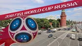 maskot : Official symbols of the 2018 FIFA World Cup in Russia (against the background of Moscow landmarks) Stok Video