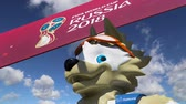 vista : Official symbols of the 2018 FIFA World Cup in Russia (against the sky with clouds) Stock Footage