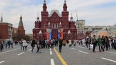russian : State Historical Museum (Victory Day decoration). Red Square, Moscow, Russia Stock Footage