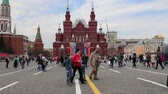 zafer : State Historical Museum (Victory Day decoration). Red Square, Moscow, Russia Stok Video