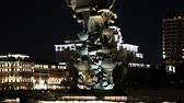 památka : Moskow (Moskva) River embankment and the Peter the Great Statue, Moskow, Russia (at night) - Zurab Tsereteli and was erected in 1997 Dostupné videozáznamy
