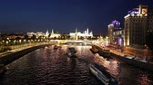 russian city : View of the Kremlin and Moskva River, Moscow, Russia - the most popular view of Moscow Stock Footage