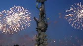 thirsty : Fireworks over the Moskow (Moskva) River embankment and the Peter the Great Statue, Moskow, Russia (at night) - Zurab Tsereteli and was erected in 1997