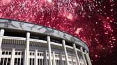 Олимпийские игры : Fireworks over the Moscow big sports arena (Stadium) Luzhniki Olympic Complex - Stadium for the 2018 FIFA World Cup in Russia