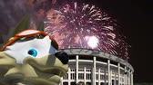 vlk : Fireworks over the Official mascot of the 2018 FIFA World Cup in Russia - wolf Zabivaka and Luzhniki Olympic Complex - Stadium for the 2018 FIFA World Cup. Moscow Dostupné videozáznamy
