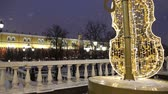 architectural : Christmas (New Year holidays) decoration in Moscow (at night), Russia-- Manege Square near the Kremlin