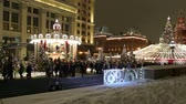 international landmark : Christmas (New Year holidays) decoration in Moscow (at night), Russia-- Manege Square near the Kremlin