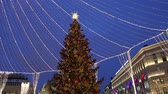 Christmas (New Year holidays) decoration in Moscow (at night), Russia. Lubyanskaya (Lubyanka) Square