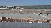 歩道橋 : View of the Pushkinsky (Andreevsky) Bridge and Moskva River (day). Moscow, Russia