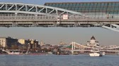 russian : View of the Pushkinsky (Andreevsky) Bridge and Moskva River (day). Moscow, Russia