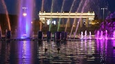 escuro : Colorful Lights of the Dancing Fountain in Gorky Park (at night), Moscow, Russia Stock Footage