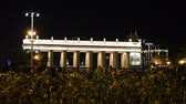 brána : Main entrance gate of the Gorky Park (at night) - one of the main citysights and landmark in Moscow, Russia
