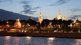 banchina : View of the Moskva River and the Kremlin (at night), Moscow, Russia - the most popular view of Moscow Filmati Stock