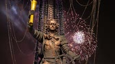 彫刻 : Fireworks over the Peter the Great Statue, Moskow, Russia. It was designed by the Georgian designer Zurab Tsereteli and was erected in 1997 動画素材