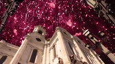 orosz : Fireworks over the Christ the Savior Cathedral, Moscow, Russia. Stock mozgókép