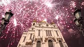 시내 : Fireworks over the Christ the Savior Cathedral, Moscow, Russia. 무비클립
