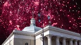 ondergronds : Fireworks over the entrance to the metro station Komsomolskaya. Moscow, Russia