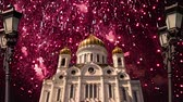 capitais : Fireworks over the Christ the Savior Cathedral, Moscow, Russia Stock Footage