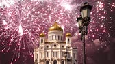 Иисус : Fireworks over the Christ the Savior Cathedral, Moscow, Russia Стоковые видеозаписи