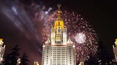 szovjet : Fireworks over the main building of the Moscow State University on Sparrow Hills, Russia Stock mozgókép