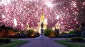 havai fişek : Fireworks over the main building of the Moscow State University on Sparrow Hills, Russia Stok Video