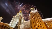 vitória : Fireworks over the main building of the Moscow State University on Sparrow Hills, Russia Vídeos
