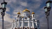 krisztus : View of the Christ the Savior Cathedral (day) on the background of moving clouds, Moscow, Russia. Stock mozgókép
