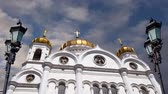 centro da cidade : View of the Christ the Savior Cathedral (day) on the background of moving clouds, Moscow, Russia. Vídeos