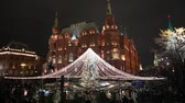 locations : Christmas (New Year holidays) decoration in Moscow (at night), Russia-- Manege Square near the Kremlin