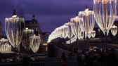 Christmas (New Year holidays) decoration in Moscow (at night), Russia-- Bolshoy Moskvoretsky bridge. Journey to Christmas, Moscow seasons. View from Zaryadye Park. 影像素材