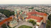 krakow : View from the heights of Wawel Castle in the historic center of Krakow Stock Footage