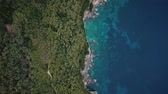 intocada : Flight over of coastline at Corfu island in Greece