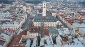 lviv : Aerial view of the historical center of Lviv. Shooting with drone Stock Footage