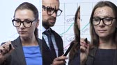 seçenek : 3 in 1 video. Man and woman draws various growth charts, calculating prospects for success in a modern glass office. Vertical video montage. Stok Video